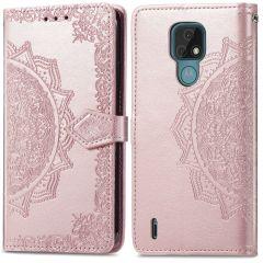 iMoshion Mandala Booktype Motorola Moto E7 - Rosé Goud