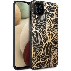 iMoshion Design hoesje Samsung Galaxy A12 - Bladeren - Zwart / Goud