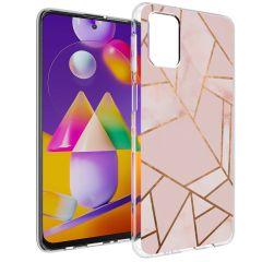 iMoshion Design hoesje Galaxy M31s - Grafisch Koper - Roze / Goud