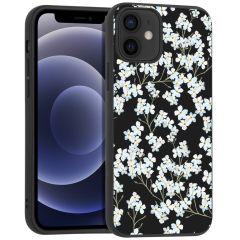 iMoshion Design hoesje iPhone 12 Mini - Bloem - Wit / Zwart
