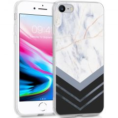 iMoshion Design hoesje iPhone SE (2020) / 8 / 7 / 6s - Marmer - Wit