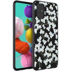 iMoshion Design hoesje Samsung Galaxy A51 - Bloem - Wit / Zwart