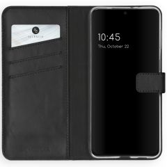 Selencia Echt Lederen Booktype Samsung Galaxy S21 Plus - Zwart