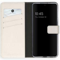 Selencia Echt Lederen Booktype Samsung Galaxy S21 Plus - Lichtgrijs
