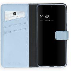 Selencia Echt Lederen Booktype Samsung Galaxy S21 Plus - Lichtblauw