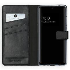 Selencia Echt Lederen Booktype Galaxy A52 (5G) / A52 (4G) - Zwart