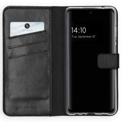 Selencia Echt Lederen Booktype Samsung Galaxy A72 - Zwart