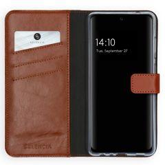 Selencia Echt Lederen Booktype Samsung Galaxy A72 - Lichtbruin