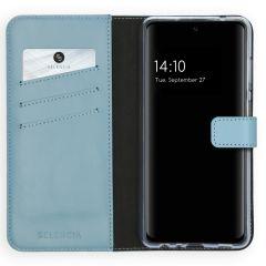 Selencia Echt Lederen Booktype Samsung Galaxy A72 - Lichtblauw