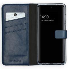 Selencia Echt Lederen Booktype Samsung Galaxy A72 - Blauw