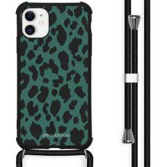iMoshion Design hoesje met koord iPhone 11 - Luipaard - Groen / Zwart