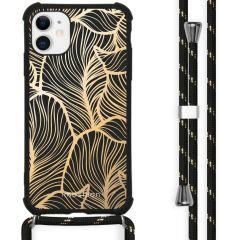 iMoshion Design hoesje met koord iPhone 11 - Bladeren - Goud / Zwart