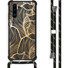 iMoshion Design hoesje met koord Huawei P30 Pro - Bladeren - Goud