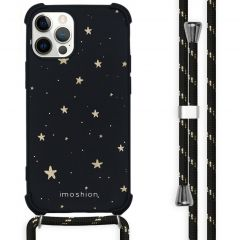 iMoshion Design hoesje met koord iPhone 12 (Pro) - Sterren - Zwart