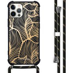 iMoshion Design hoesje met koord iPhone 12 (Pro) - Bladeren - Goud