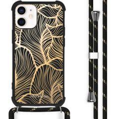 iMoshion Design hoesje met koord iPhone 12 Mini - Bladeren - Goud