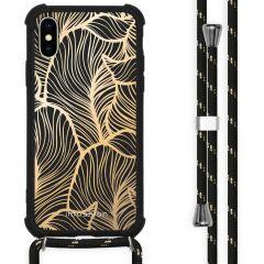 iMoshion Design hoesje met koord iPhone X / Xs - Bladeren - Goud