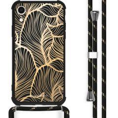 iMoshion Design hoesje met koord iPhone Xr - Bladeren - Goud / Zwart