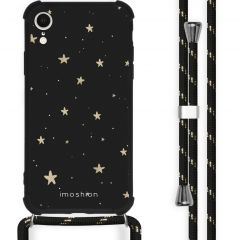 iMoshion Design hoesje met koord iPhone Xr - Sterren - Zwart / Goud