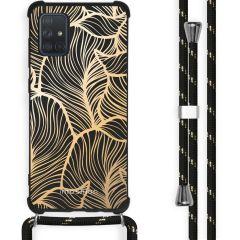iMoshion Design hoesje met koord Samsung Galaxy A71 - Bladeren - Goud