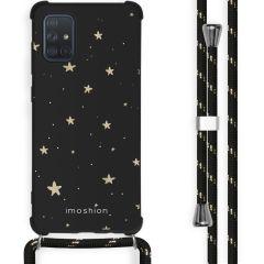 iMoshion Design hoesje met koord Samsung Galaxy A71 - Sterren - Zwart