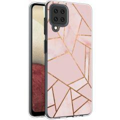 iMoshion Design hoesje Galaxy A12 - Grafisch Koper - Roze / Goud