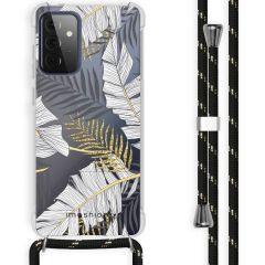 iMoshion Design hoesje met koord Galaxy A72 - Bladeren - Zwart / Goud