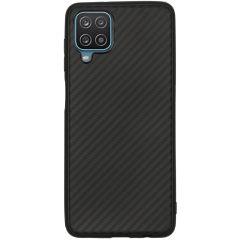 Carbon Softcase Backcover Samsung Galaxy A12 - Zwart