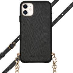 Selencia Aina Slang Hoesje met koord iPhone 11 - Zwart