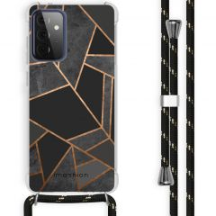 iMoshion Design hoesje met koord Galaxy A72 - Grafisch Koper - Zwart