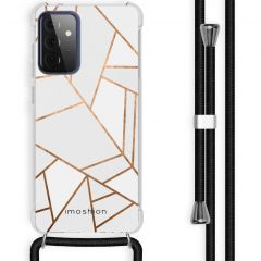 iMoshion Design hoesje met koord Galaxy A72 - Grafisch Koper - Wit