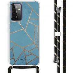 iMoshion Design hoesje met koord Galaxy A72 - Grafisch Koper - Blauw