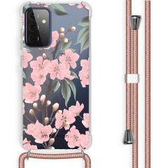 iMoshion Design hoesje met koord Galaxy A72 - Bloem - Roze / Groen