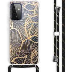 iMoshion Design hoesje met koord Galaxy A72 - Bladeren - Goud