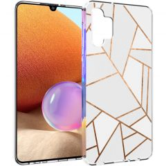 iMoshion Design hoesje Galaxy A32 (4G) - Grafisch Koper - Wit / Goud