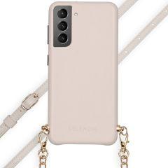 Selencia Aina Slang Hoesje met koord Samsung Galaxy S21 Plus - Wit