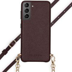 Selencia Aina Slang Hoesje met koord Samsung Galaxy S21 Plus - Rood