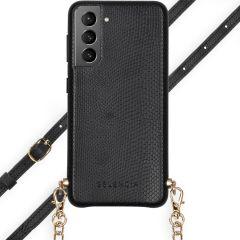 Selencia Aina Slang Hoesje met koord Samsung Galaxy S21 - Zwart