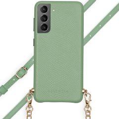 Selencia Aina Slang Hoesje met koord Samsung Galaxy S21 Plus - Groen