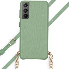 Selencia Aina Slang Hoesje met koord Samsung Galaxy S21 - Groen
