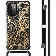iMoshion Design hoesje met koord Galaxy A72 - Bladeren - Goud / Zwart
