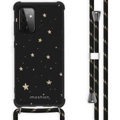 iMoshion Design hoesje met koord Galaxy A72 - Sterren - Zwart / Goud