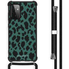 iMoshion Design hoesje met koord Galaxy A72 - Luipaard - Groen /Zwart