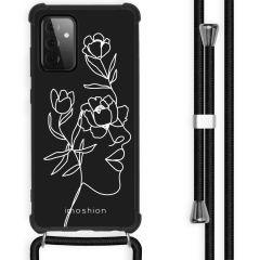 iMoshion Design hoesje met koord Galaxy A72 - Abstract Gezicht Bloem