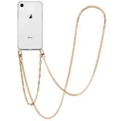 iMoshion Backcover met koord + armband - Ketting iPhone Xr - Goud