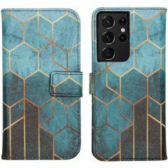 iMoshion Design Softcase Book Case Galaxy S21 Ultra - Green Honeycomb