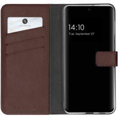 Selencia Echt Lederen Booktype Samsung Galaxy A32 (4G) - Donkerbruin