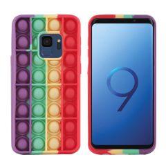 iMoshion Pop It Fidget Toy - Pop It hoesje Samsung Galaxy S9 -Rainbow