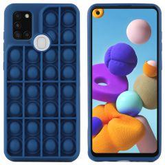 iMoshion Pop It Fidget Toy - Pop It hoesje Galaxy A21s - Donkerblauw