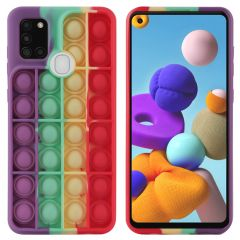 iMoshion Pop It Fidget Toy - Pop It hoesje Galaxy A21s  - Rainbow